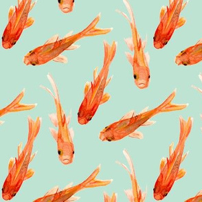 Goldfish -  Mint Background custom