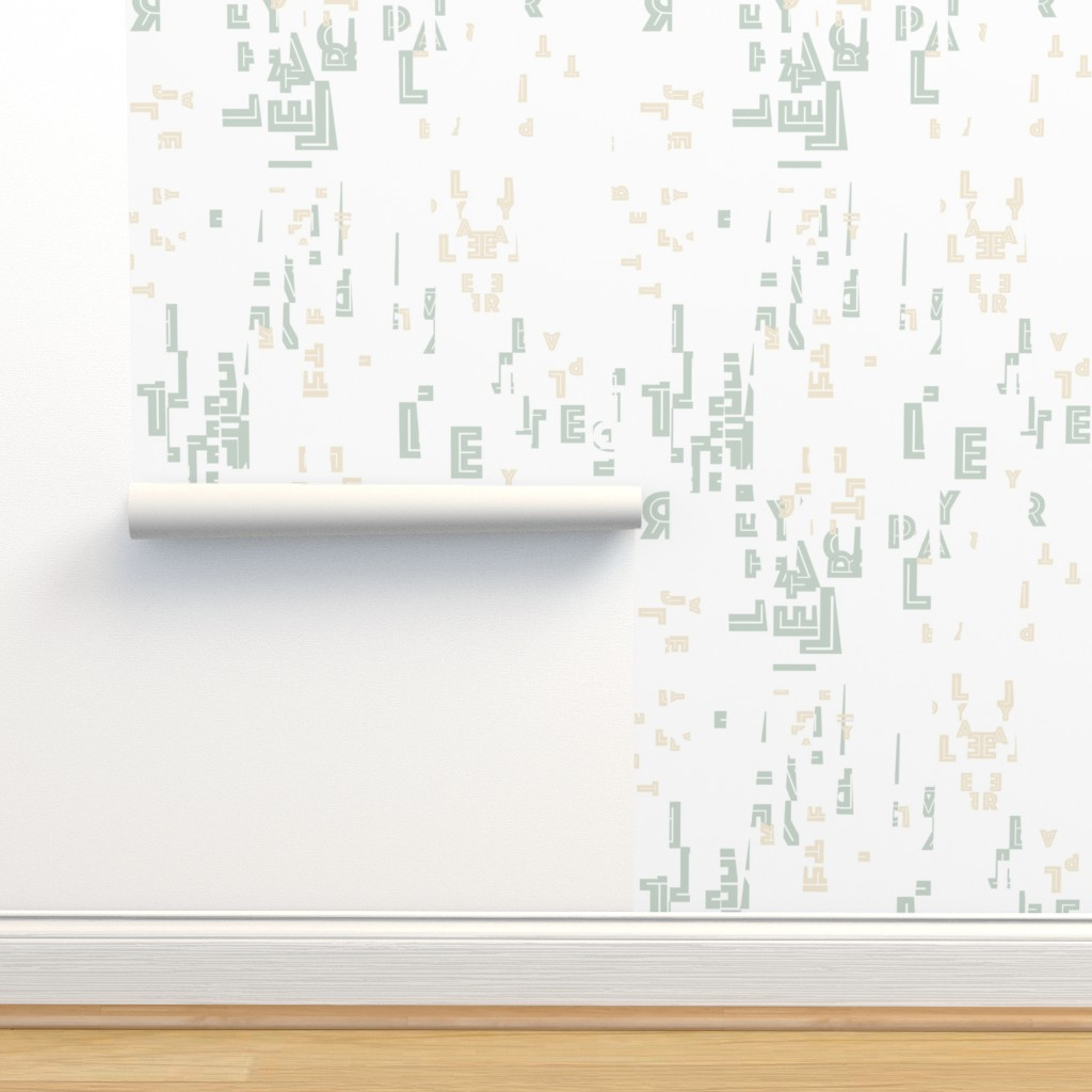 Isobar Durable Wallpaper featuring letterplay-dipped-white-cream-sagelt by cinneworthington