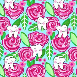 Blushing Tooth  and Shabby Pink Roses on Blue Med - Small