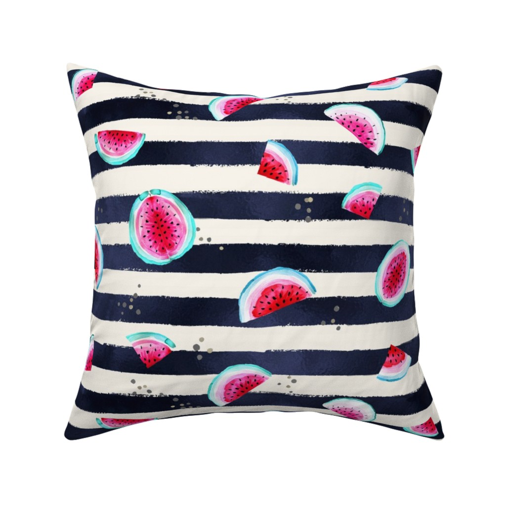 Catalan Throw Pillow featuring Splashy Watermelon Stripe by crystal_walen
