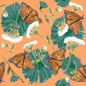 Monarch and Wildflowers - Peach