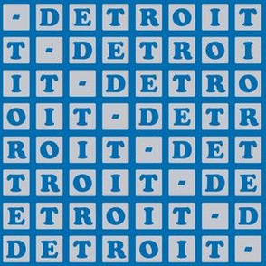 Detroit Letter Blocks - Silver and Blue