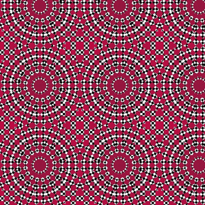 maroon black white circles