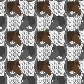 Horses in horseshoe portraits 4