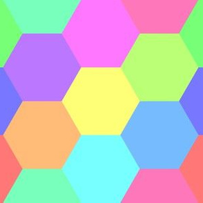 06321755 : hexagon patches : rainbow 12