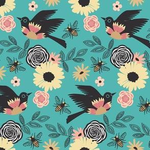 Birds & Bees - Turquoise
