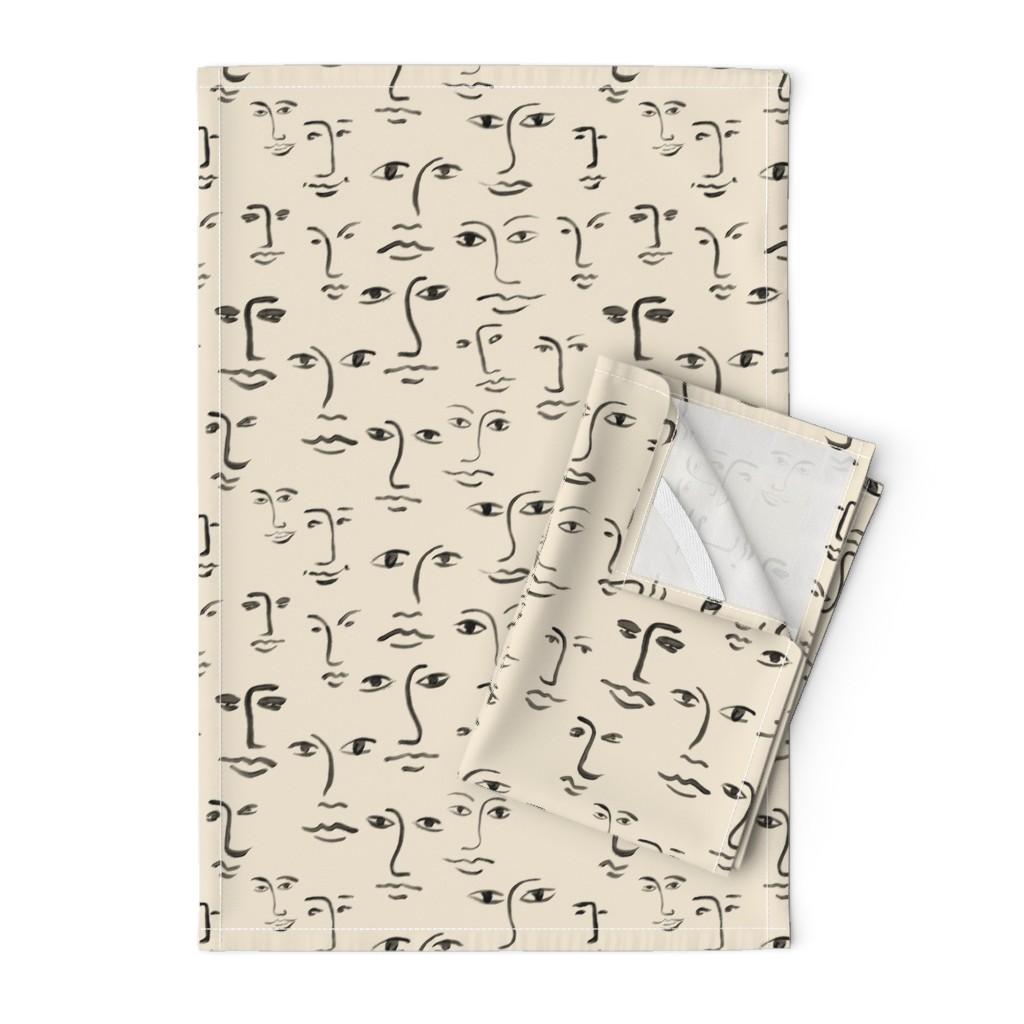Orpington Tea Towels featuring faces 2 - black /cream by cinneworthington