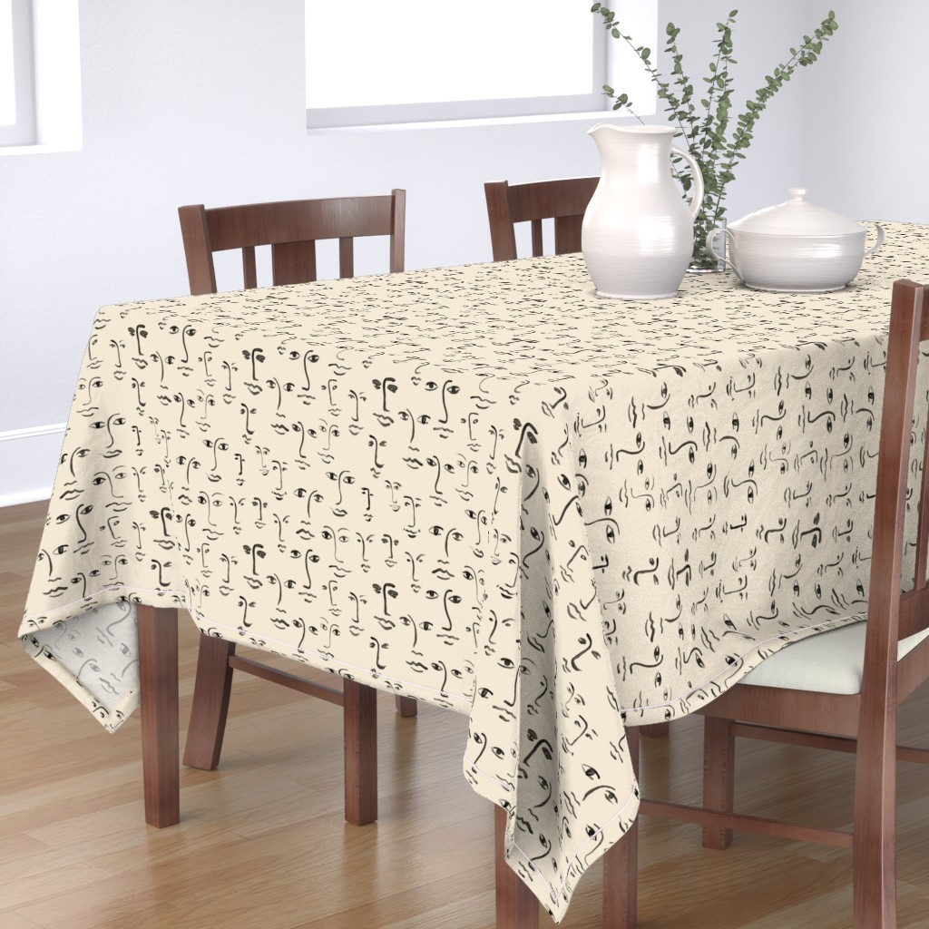 Bantam Rectangular Tablecloth featuring faces 2 - black /cream by cinneworthington