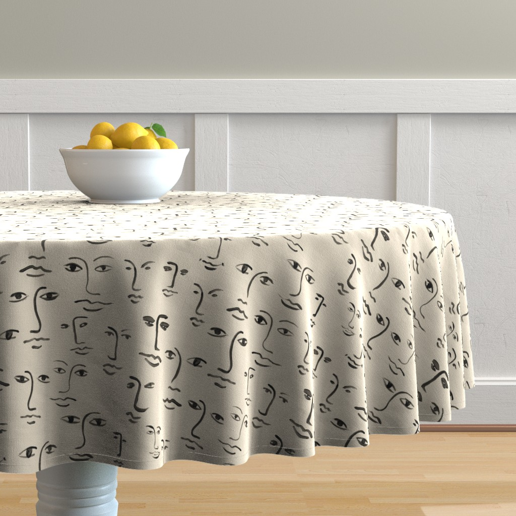 Malay Round Tablecloth featuring faces 2 - black /cream by cinneworthington