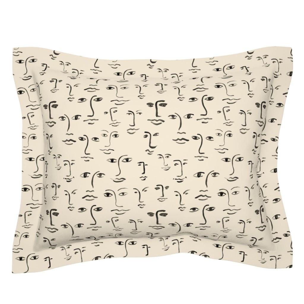 Sebright Pillow Sham featuring faces 2 - black /cream by cinneworthington
