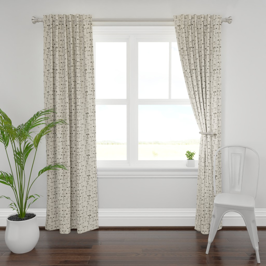 Plymouth Curtain Panel featuring faces 2 - black /cream by cinneworthington