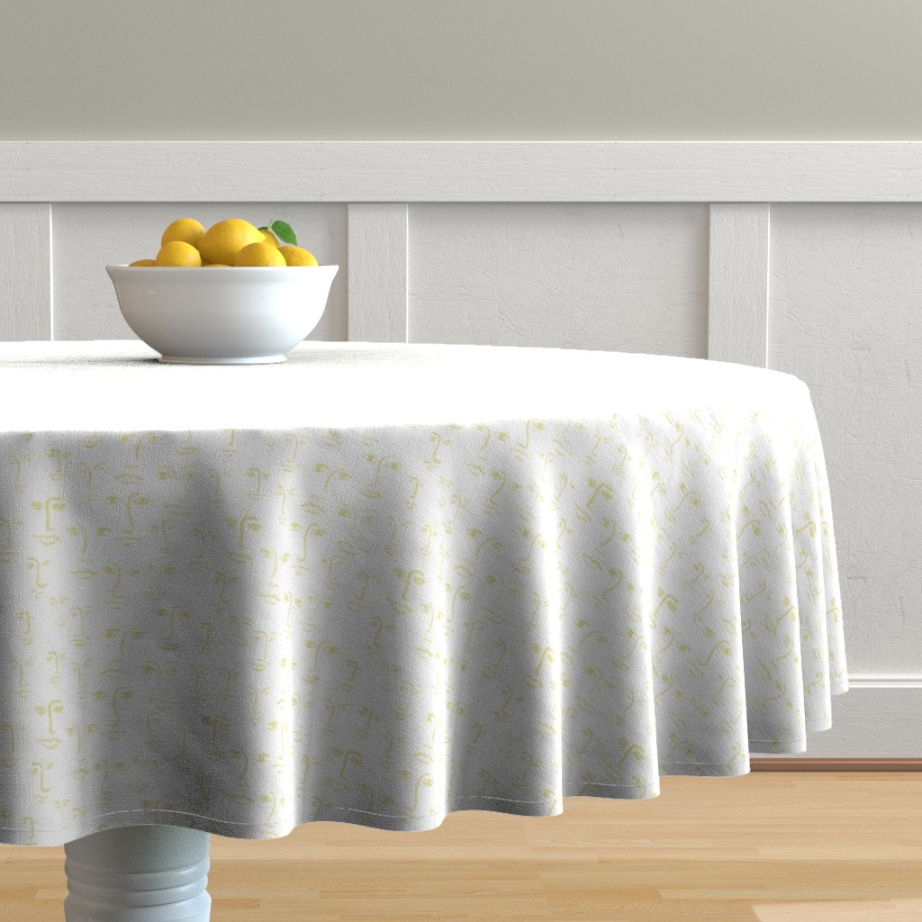 Malay Round Tablecloth featuring faces 2- glow on milk by cinneworthington