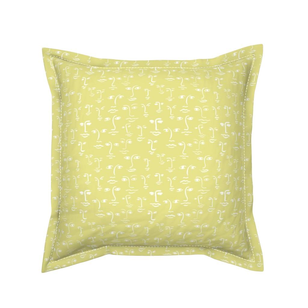 Serama Throw Pillow featuring faces 2 - white on glow by cinneworthington