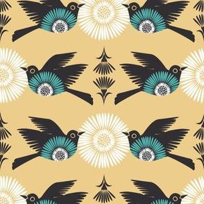 Birds & Blooms- Yellow