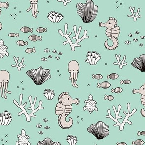 Adorable sea horse fish coral and jelly squid baby animals ocean dream mint