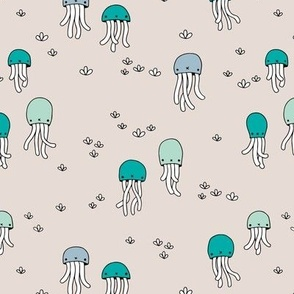 Adorable under water jelly fish baby squid sea animals ocean dream blue