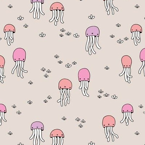 Adorable under water jelly fish baby squid sea animals ocean dream pink lilac
