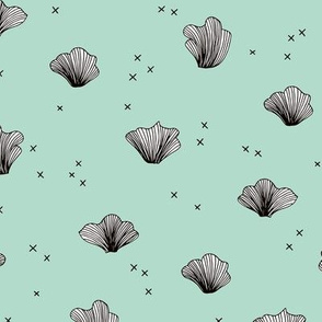Shell and coral deep sea ocean basic scandianvian style design mint
