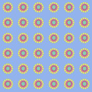 Pop Dot Flowers on Blue