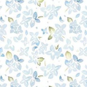 Blue Watercolor Hydrangea Floral