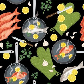 Let's Eat, Black - Frying Pans Of Fish