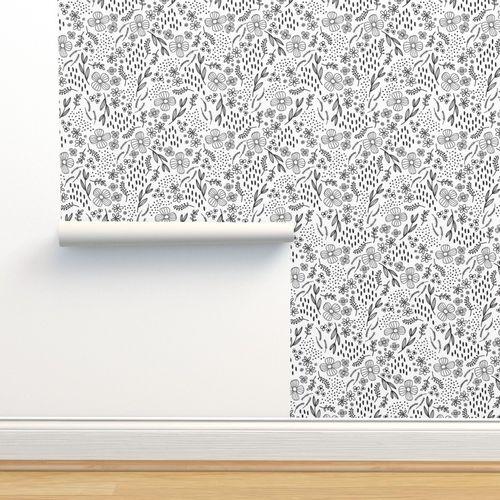Wallpaper Simple Line Drawn Black Floral