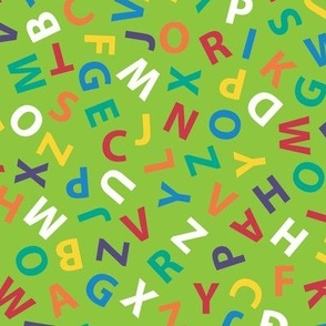 large ditsy alphabet on lime green