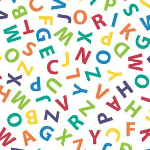 large ditsy rainbow alphabet on white