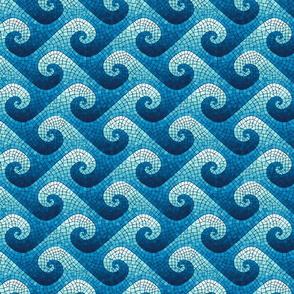 mini wave mosaic - navy, blue, cyan, aqua, white