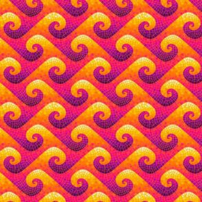 mini wave mosaic - purple, hot pink, orange, yellow, white
