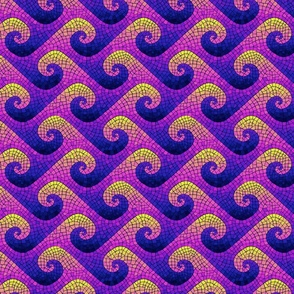 mini wave mosaic - blue, purple, pink, yellow