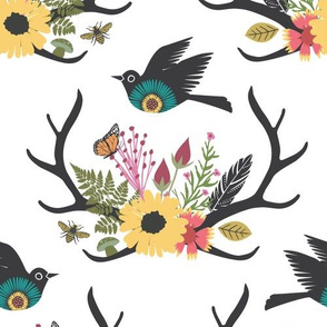 Floral Antlers with Bird - White - Large