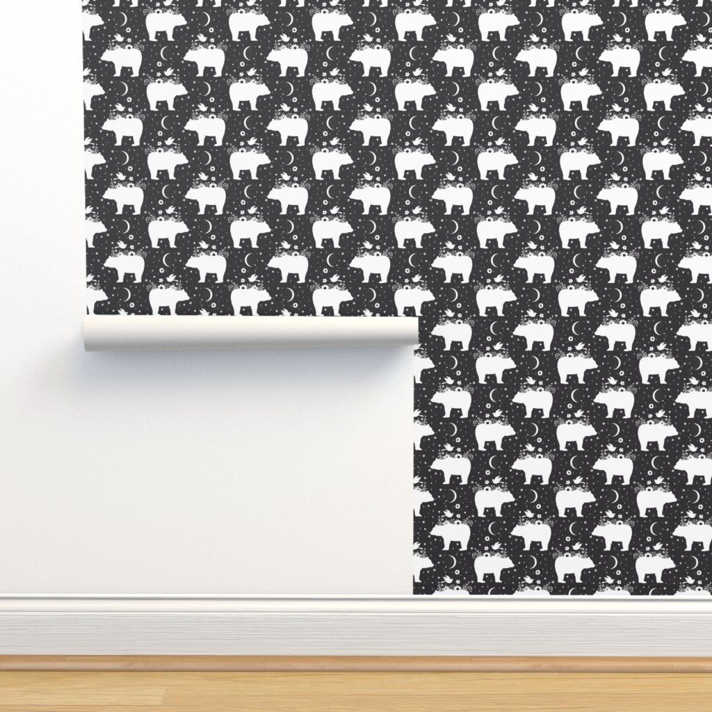 Isobar Durable Wallpaper featuring Moonlight Bear - Black & White - Small by bohemiangypsyjane