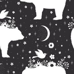 Moonlight Bear - Black & White - Large