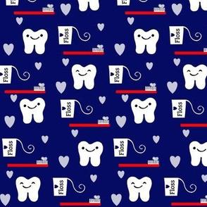 Brush Floss Dental One Directional Tooth Design / Navy Blue  RDH