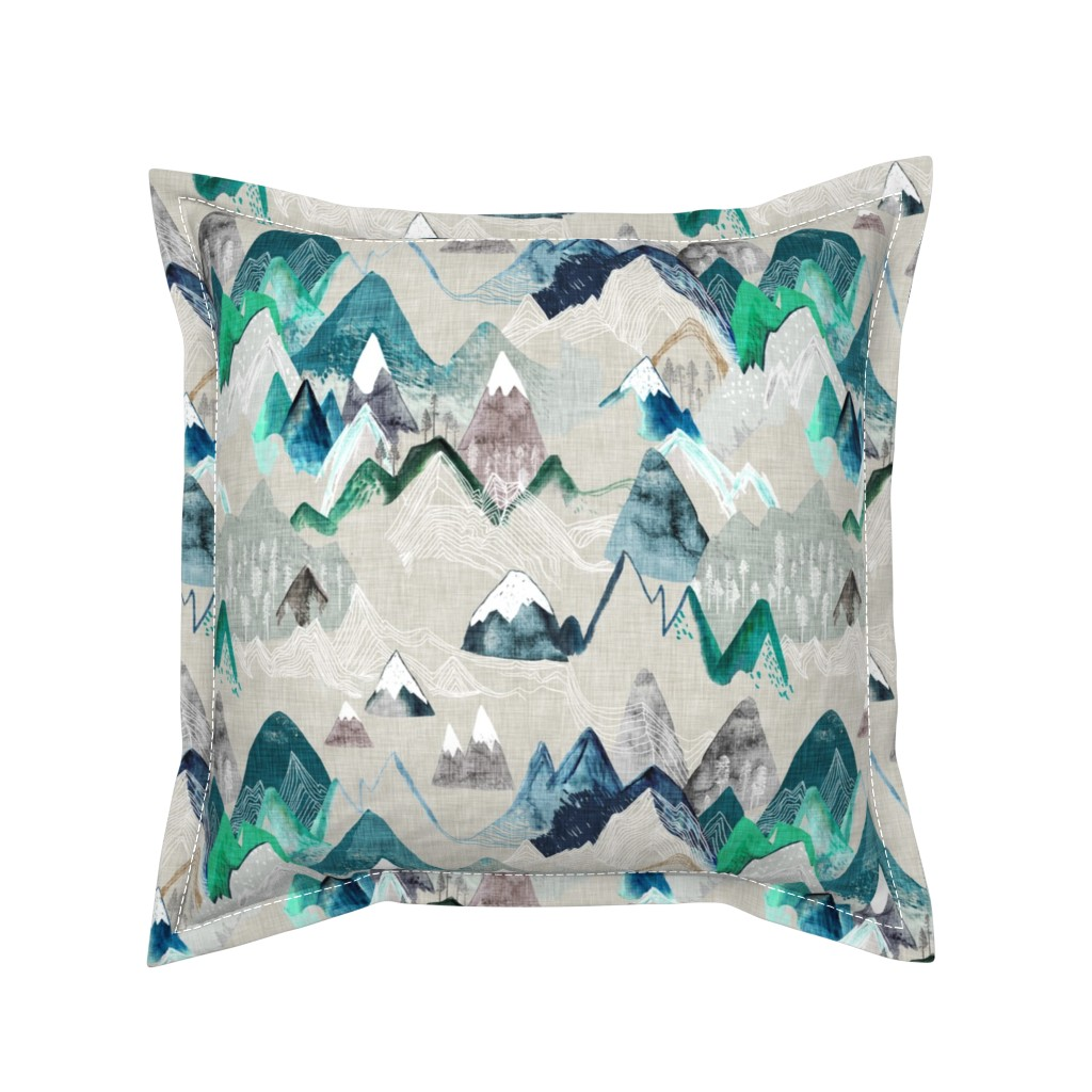 Serama Throw Pillow featuring Call of the Mountains  (evergreen) MED by nouveau_bohemian