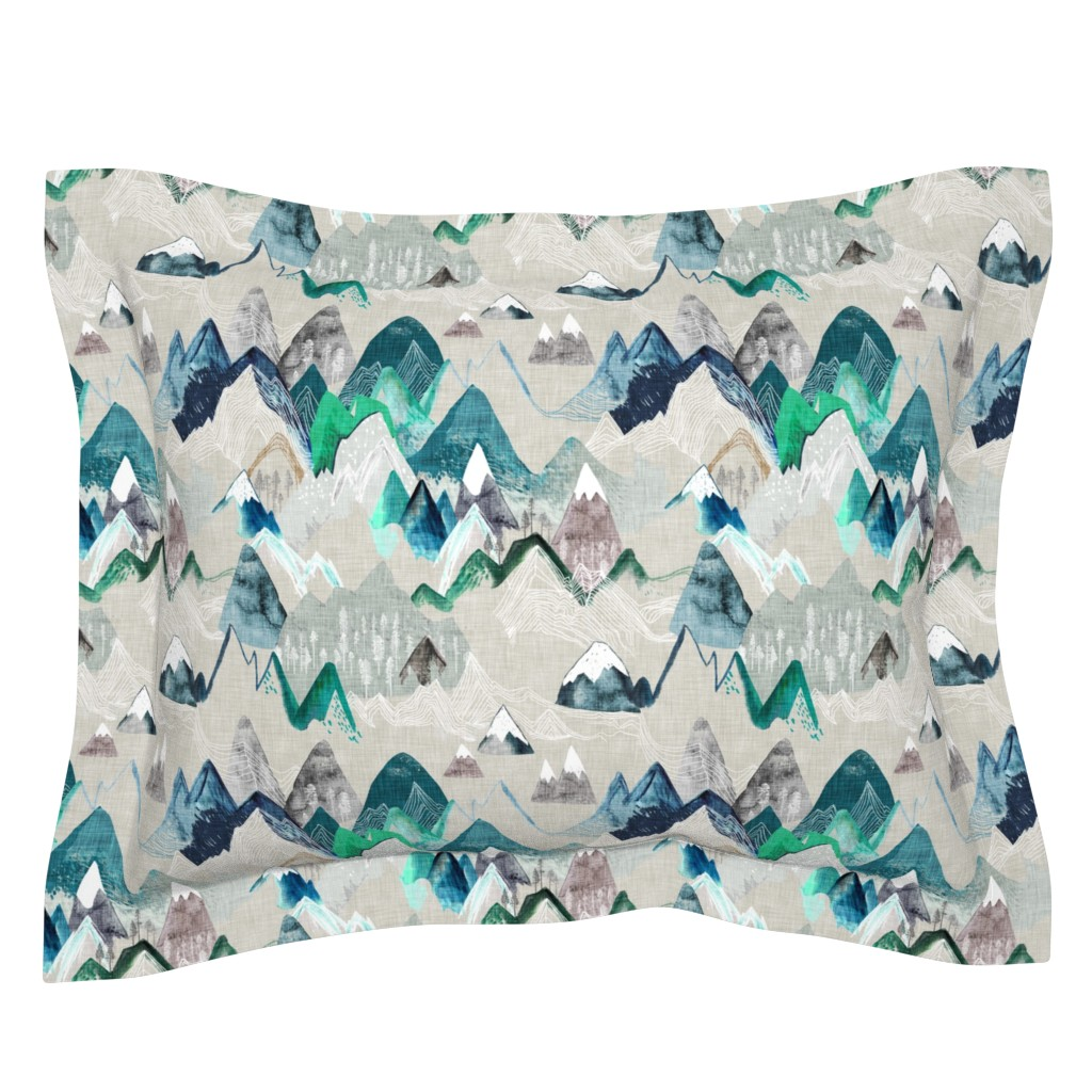 Sebright Pillow Sham featuring Call of the Mountains  (evergreen) MED by nouveau_bohemian