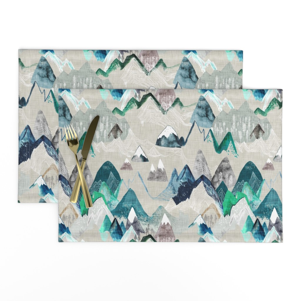 Lamona Cloth Placemats featuring Call of the Mountains  (evergreen) MED by nouveau_bohemian
