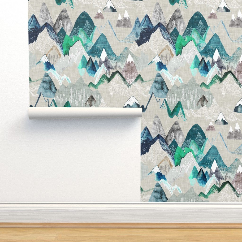 Isobar Durable Wallpaper featuring Call of the Mountains  (evergreen) MED by nouveau_bohemian