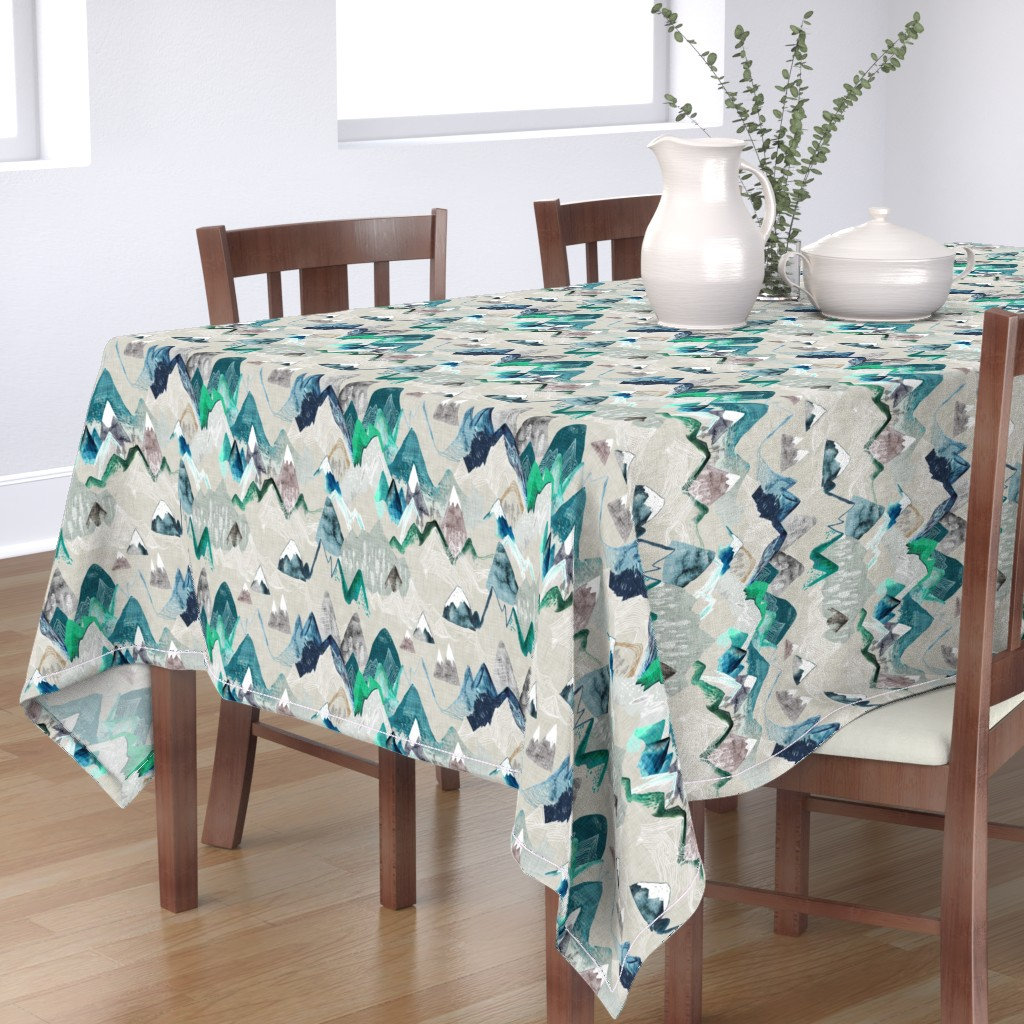 Bantam Rectangular Tablecloth featuring Call of the Mountains  (evergreen) MED by nouveau_bohemian