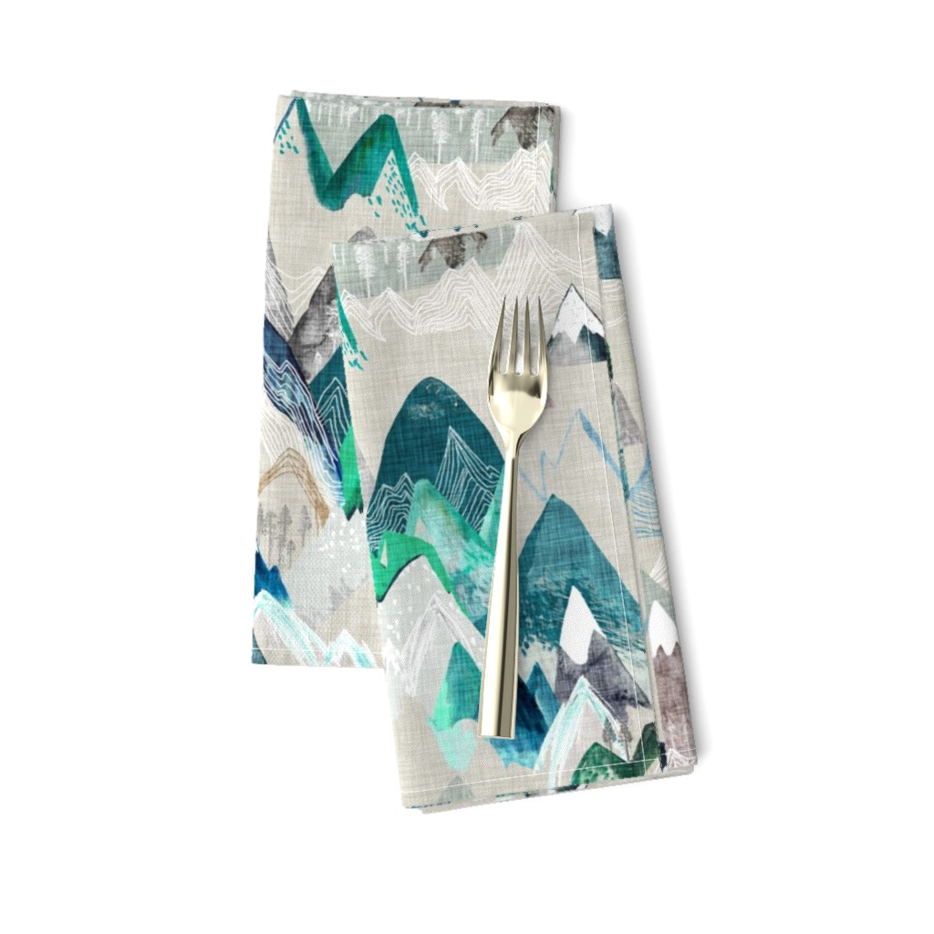 Amarela Dinner Napkins featuring Call of the Mountains  (evergreen) MED by nouveau_bohemian