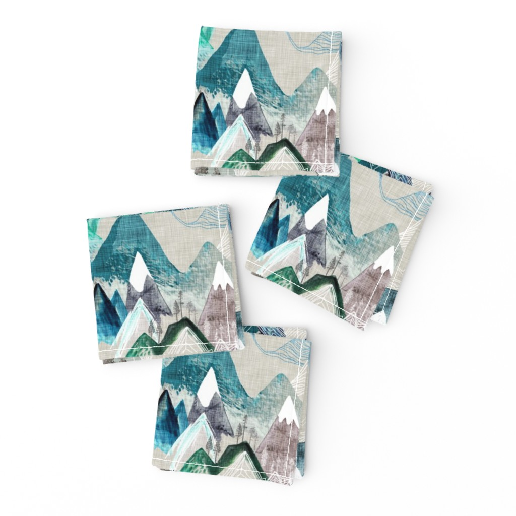 Frizzle Cocktail Napkins featuring Call of the Mountains  (evergreen) MED by nouveau_bohemian