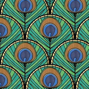 Green Glitzy Peacock Art Deco Fan Pattern