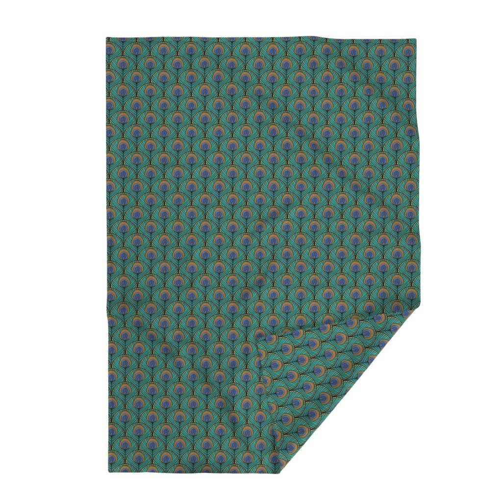 Lakenvelder Throw Blanket featuring Glitzy Peacock Art Deco Fan Pattern by suzzincolour