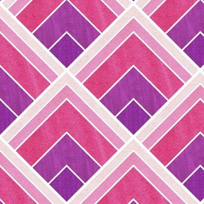 Purple and Pink, Square Art Deco Pattern