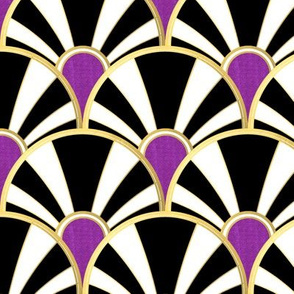 Black Gold Art Deco Fan with Purple