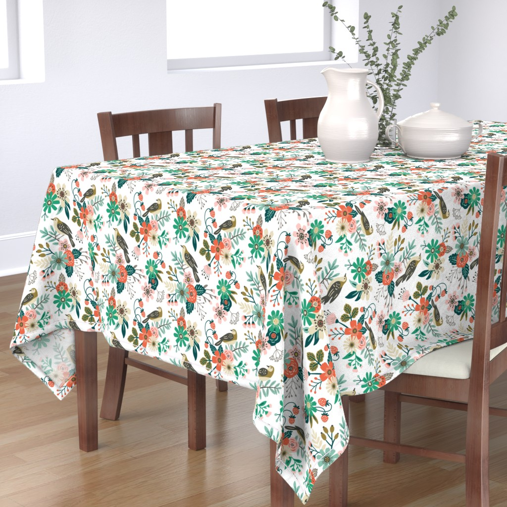 Bantam Rectangular Tablecloth featuring birds, flowers and strawberries by mirabelleprint