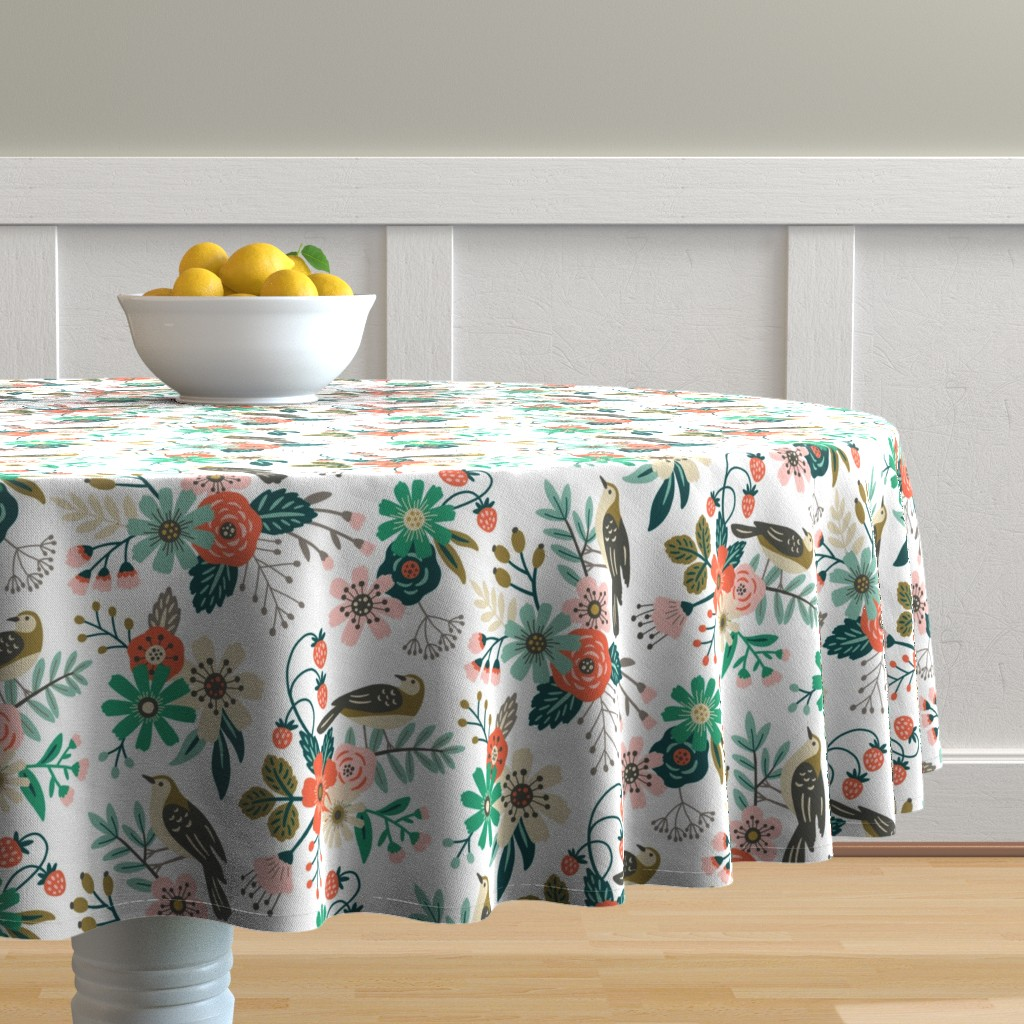 Malay Round Tablecloth featuring birds, flowers and strawberries by mirabelleprint