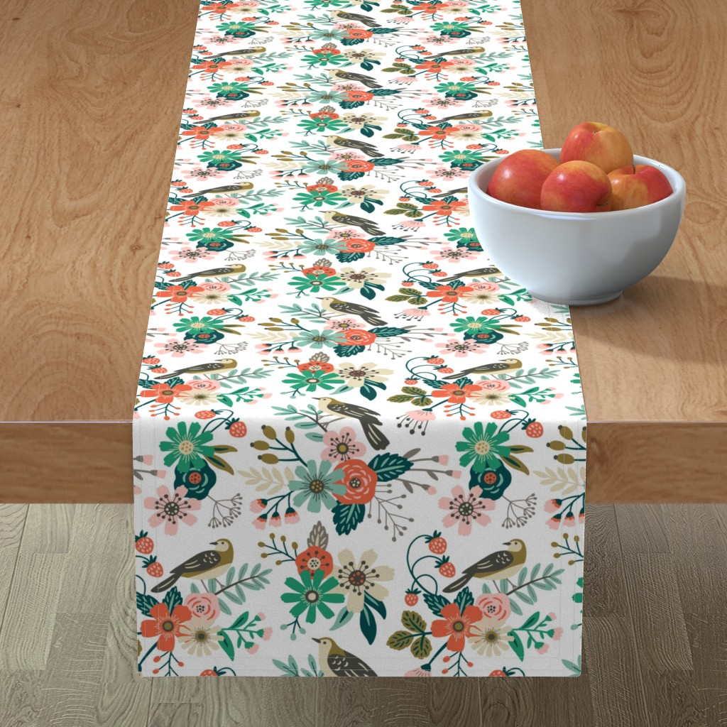 Minorca Table Runner featuring birds, flowers and strawberries by mirabelleprint