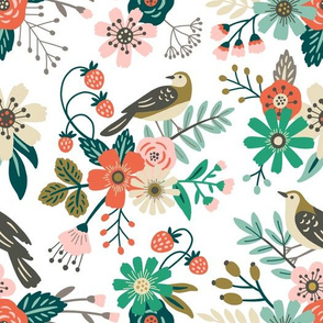 birds, flowers and strawberries